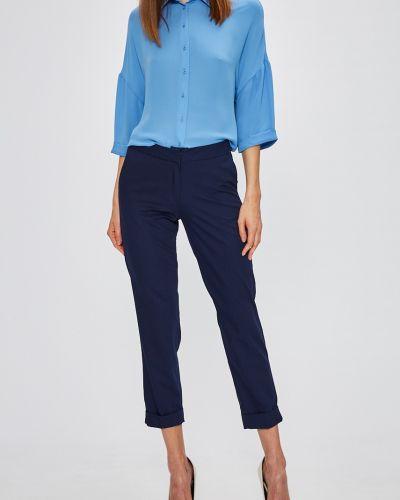 Темно-синие брюки с поясом с воротником Miss Poem