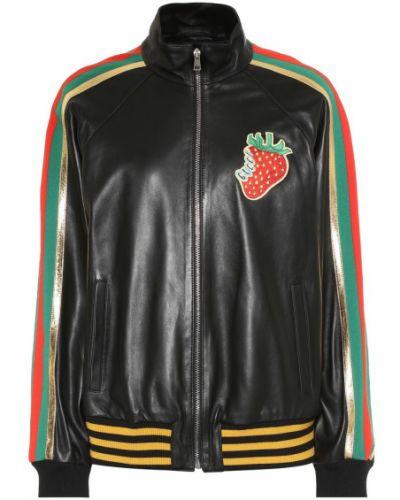 Кожаная куртка черная с опушкой Gucci