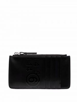 Czarny portfel skórzany z printem Mm6 Maison Margiela