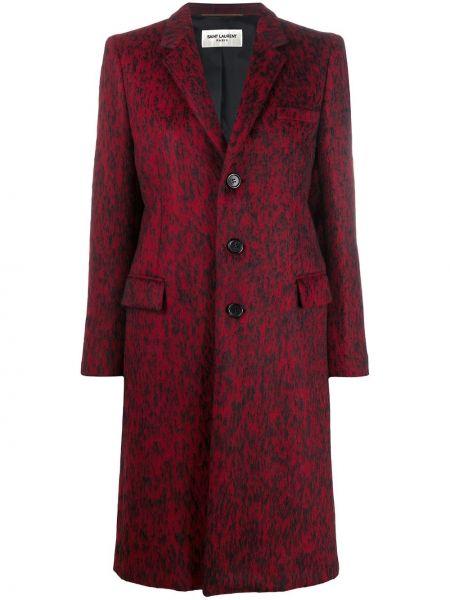 Черное длинное пальто из альпаки с карманами Saint Laurent