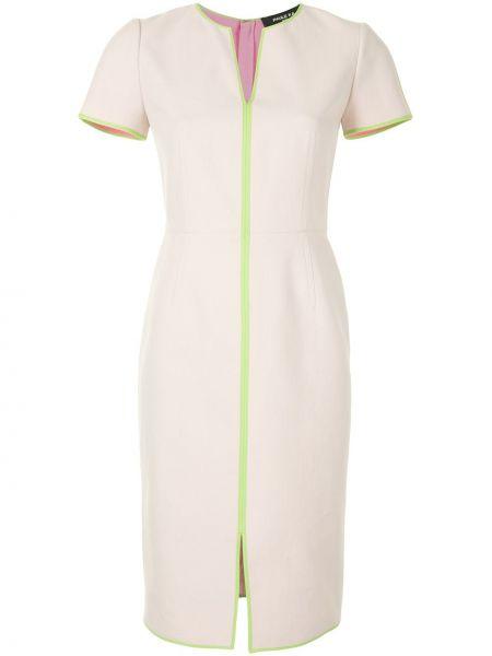 Коричневое платье мини с вырезом с короткими рукавами круглое Paule Ka