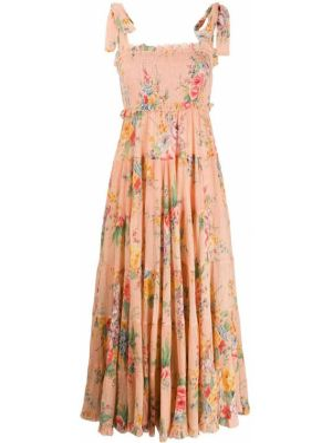 Платье миди с цветочным принтом на молнии Zimmermann