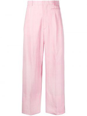 Różowe spodnie z wysokim stanem bawełniane Jacquemus