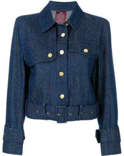 Синяя джинсовая куртка с поясом John Galliano Pre-owned