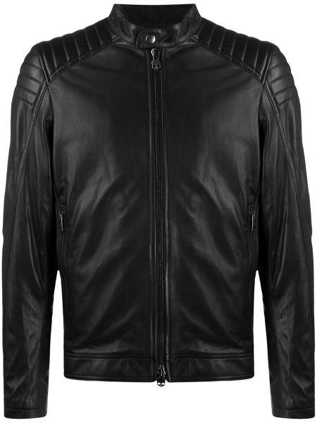 Czarna długa kurtka skórzana z długimi rękawami Hydrogen