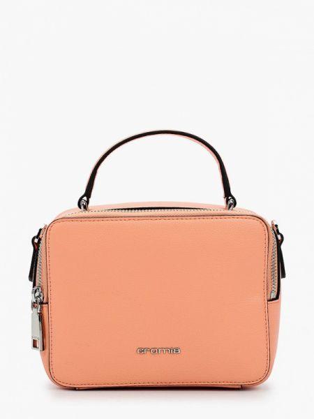 Розовая кожаная сумка с перьями из натуральной кожи Cromia