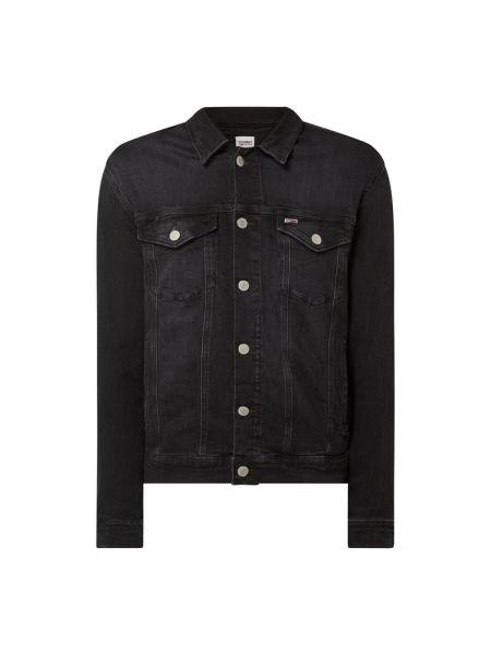 Bawełna czarny kurtka jeansowa z kołnierzem z kieszeniami Tommy Jeans