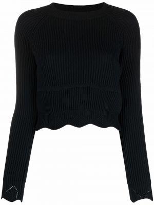 Черный длинный свитер круглый с вырезом Wandering