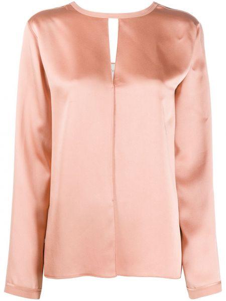Розовая блузка с вырезом из вискозы Forte Forte