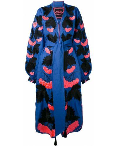Платье с поясом розовое с вышивкой Yuliya Magdych