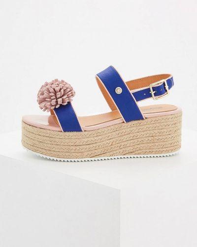 Синие босоножки на каблуке Love Moschino