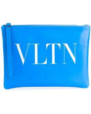 Torba sprzęgło skórzany niebieski Valentino