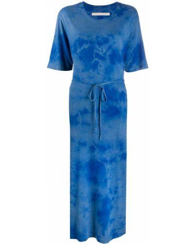 Синее платье мини круглое с короткими рукавами с вырезом Raquel Allegra