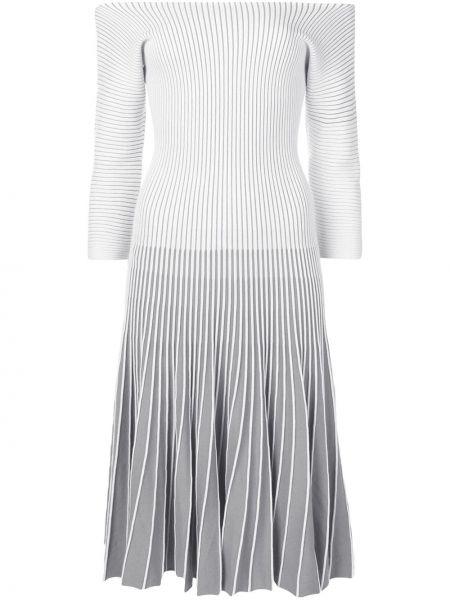Плиссированное серое платье макси винтажное с вырезом Alaïa Pre-owned