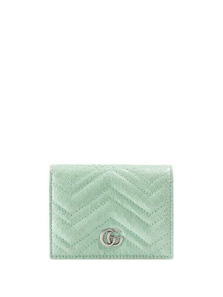 Zielony portfel skórzany pikowany Gucci