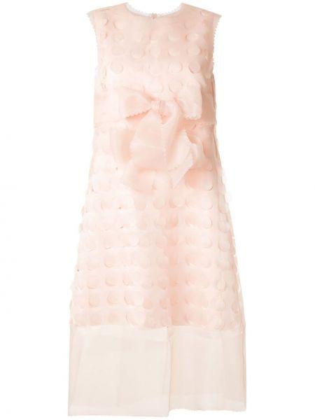 Розовое платье без рукавов с вырезом круглое Paskal