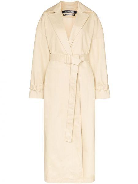 Beżowy płaszcz z paskiem bawełniany Jacquemus