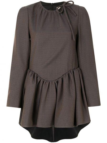 Brązowa sukienka długa z długimi rękawami zapinane na guziki Shushu/tong