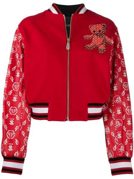 Красная куртка на молнии с манжетами круглая Philipp Plein