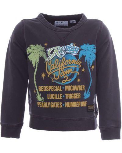 Fioletowy długi sweter oversize z printem Replay