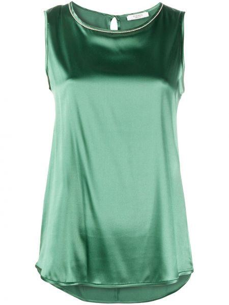 Зеленая шелковая блузка без рукавов Peserico