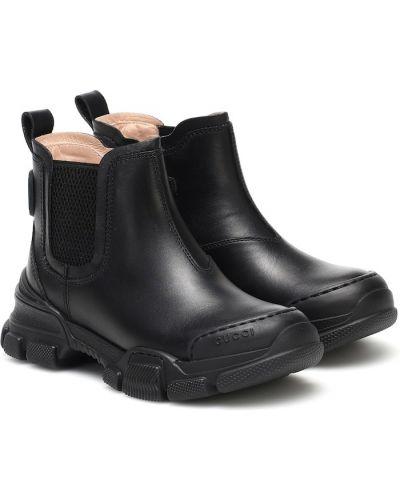Skórzany czarny buty Gucci Kids