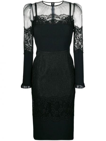 Платье миди черное приталенное Dolce & Gabbana