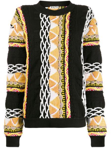 Czarny sweter wełniany z długimi rękawami Aalto