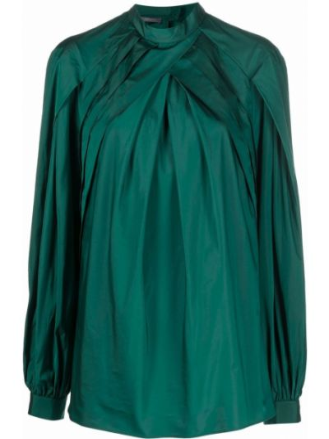 Зеленая блузка с воротником Alberta Ferretti
