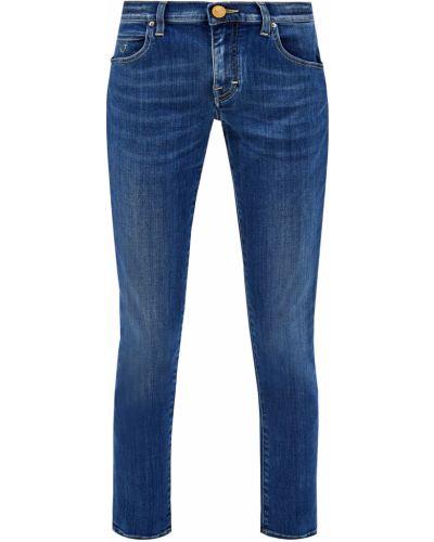 Хлопковые синие деловые укороченные джинсы с сеткой Jacob Cohen