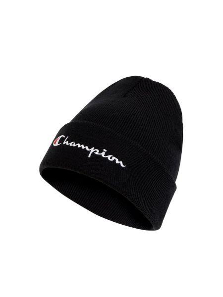 Prążkowana ciepła czarna czapka beanie Champion