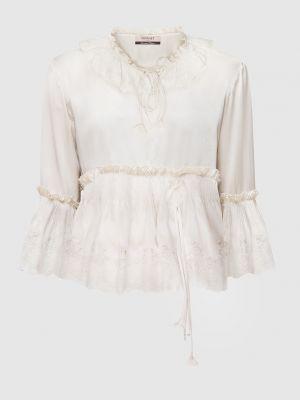 Бежевая шелковая блузка Twin-set