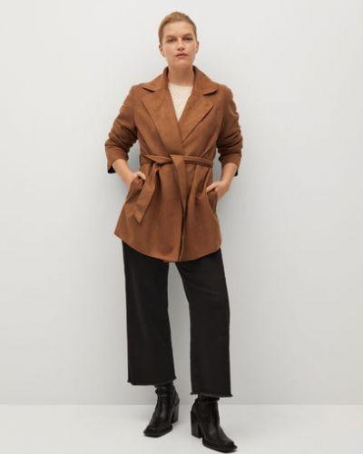 Прямой коричневый удлиненный пиджак с поясом Mango