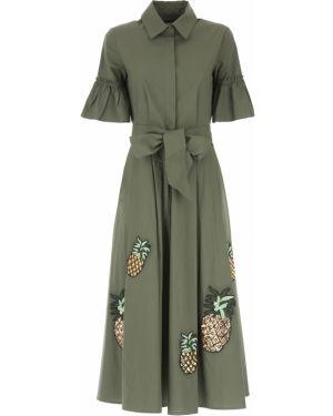 Zielona sukienka wieczorowa asymetryczna zapinane na guziki Sfizio