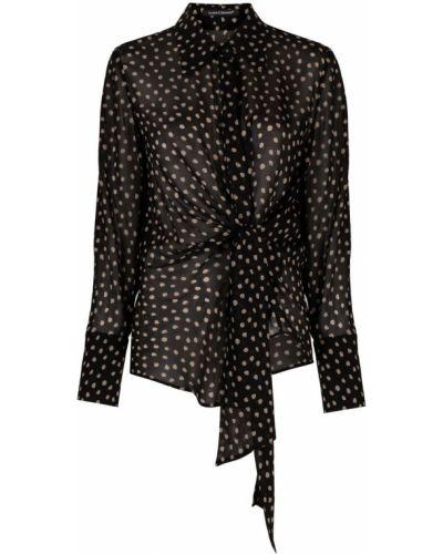 Открытая с рукавами черная классическая рубашка Luisa Cerano