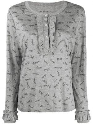 Серый пижамный топ с надписью на пуговицах Viktor & Rolf