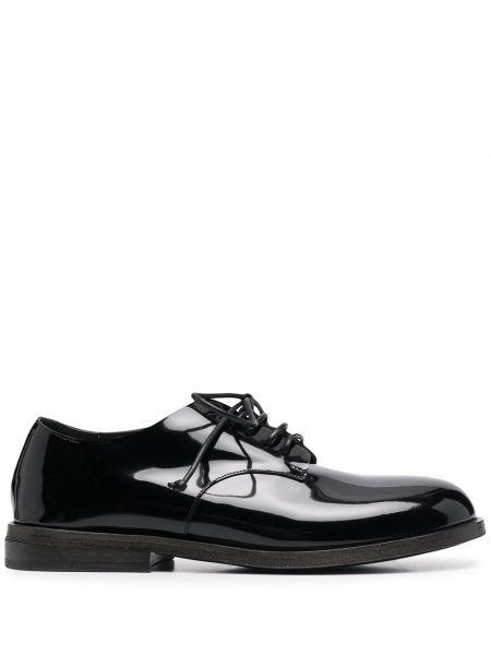 Koronkowa czarny buty brogsy zasznurować niskie obcasy Marsell