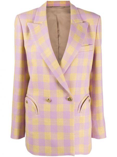 Шерстяная прямая желтая куртка с карманами Blazé Milano