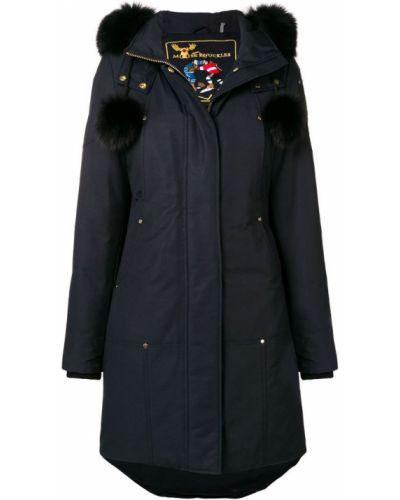 Синее длинное пальто с капюшоном Moose Knuckles
