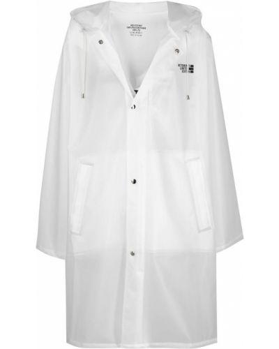 Biały płaszcz przeciwdeszczowy z kapturem z długimi rękawami Vetements