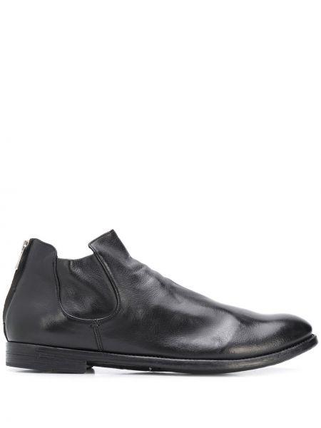 Czarny buty skórzane na pięcie z prawdziwej skóry niski wzrost Officine Creative