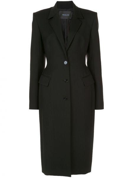 Шерстяное черное длинное пальто с капюшоном Mugler