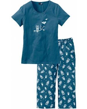 Пижама с брюками с короткими рукавами зеленый Bonprix
