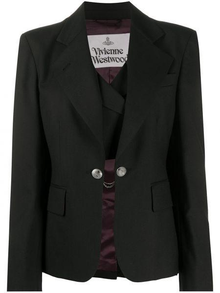 Шерстяной черный удлиненный пиджак на пуговицах Vivienne Westwood