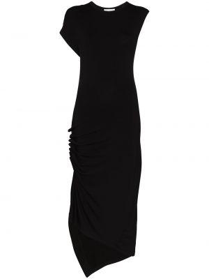 Черное плиссированное платье миди с короткими рукавами из вискозы Paco Rabanne