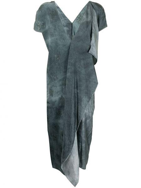 Зеленое платье мини с короткими рукавами с вырезом Uma Wang