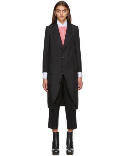 Черное длинное пальто с воротником с накладными карманами из габардина Comme Des Garçons
