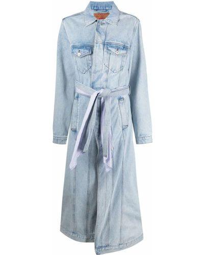 Синее пальто классическое с воротником с карманами Y/project