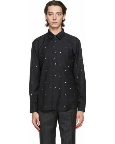 Czarna koszula z długimi rękawami w grochy Comme Des Garcons Homme Deux