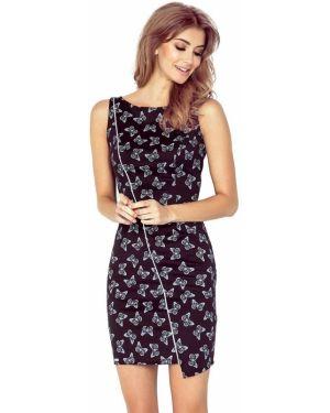 Czarna sukienka asymetryczna materiałowa Morimia